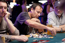 Dan Shak getting his chips ready for Day 3, only to bust within the first hour of the day.