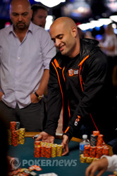 Joe Tehan ships his chips after being eliminated