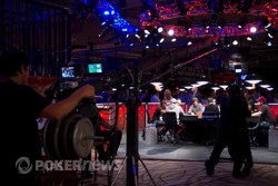 The ESPN crew surrounds the secondary feature table.