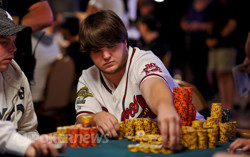 Alex Moore with many chips.