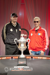 Captains of the Caesars Cup teams: Phil Hellmuth and Bertrand Grospellier