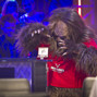 Sasquatch admires the WSOP Main Event Bracelet