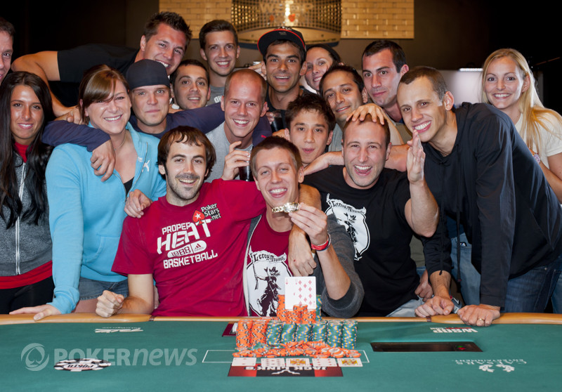 Brent Hanks,champion of event 2 of the 2012 WSOP, celebrates with friends.
