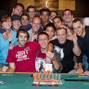 Brent Hanks,champion of event 2 of the 2012 WSOP, celebrates with friends
