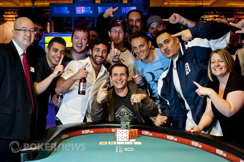 Nick Jivkov celebrates his bracelet win with friends