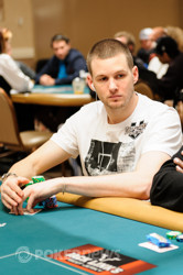 Tristan Wade find a big stack to chip up against.