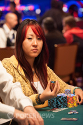 Susie Zhao - our last woman standing, but with plenty of chips