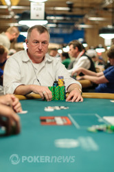 Frank Kassela is building a stack that he can nurse while he plans to play the Razz event.