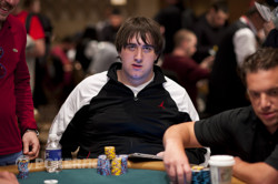 Justin Schwartz is in contention with a big stack