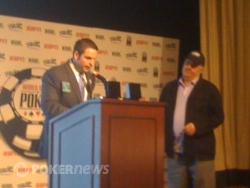 "Jack Effel awards Panayote ""Peter"" Vilandos his WSOP gold bracelet"