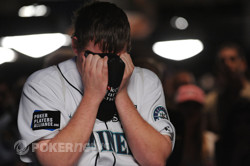 Matt Affleck after his aces were cracked deep in the 2010 WSOP Main Event