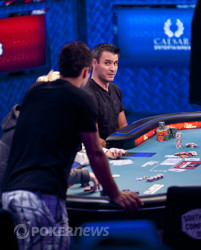 Andra Koroknai casts a glance towards Marc Ladouceur after the flop