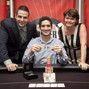 Jack Effel, Jonathan Aguiar (winner), Lucy Denos after Aguiar wins the WSOPE Event 5.