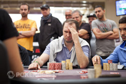 Sergii Baranov, frustrated at Phil Hellmuth.
