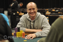 The chip leader is all smiles