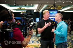 Boris Becker being interviewed by Gerry Dee.