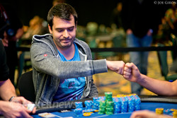 Dimitar Danchev gets a fist bump from Ryan Fair after winning the hand