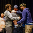 Matt Waxman is mobbed by fellow pros, Jason Mercier, Jeff Gross and McClane Karr.  Waxman had just won a WSOP Gold Bracelet