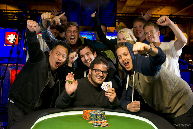 WSOP Event 11 Gold Bracelet Winner Levi Berger and friends celebrate his victory.