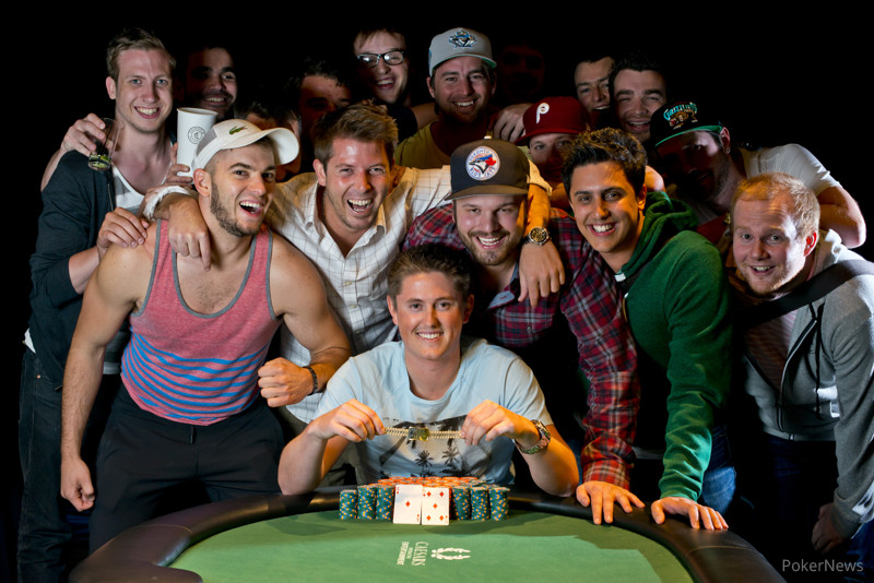 Taylor Paur celebrates with friends after capturing the WSOP Gold Bracelet in Event 18.