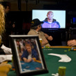 LA Lakers Kobe Bryant pays tribute to Dr. Jerry Buss on a video screen in the Amazon Room at the WSOP.