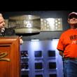 Nolan Dalla congratulates Kenneth Lind, winner of Event #26: $1,000 Seniors No-Limit Hold'em Championship