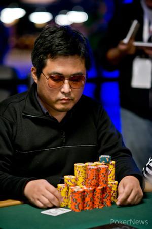 Masayuki Nagata holds a large chip lead.