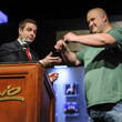 Jack Effel presents the gold bracelet to Jonathan Taylor, winner of Event #14: $1,500 No-Limit Hold'em