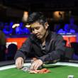 Peter Hengsakul stacks the chips after eliminating Joao Dorneles Neto