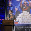 Greg Merson addresses the players in the 2013 Main Event