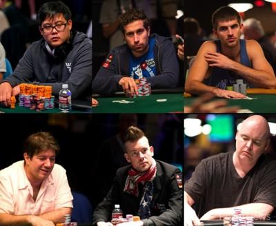 Six of the eight $50,000 Poker Players' Championship finalist.