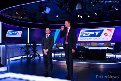 EPT President Edgar Stuchly gives the opening words at EPT Barcelona Day 1a with tournament director Toby Stone