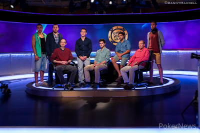 Group shot of the final table of the €50k Super High Roller.