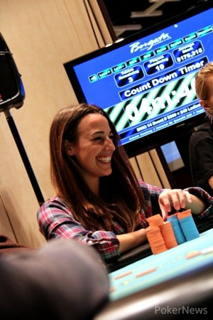 Megan Milburn in the Final 18 of the 2014 Borgata Winter Poker Open Ladies Event