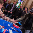 Fabrice Soulier shakes hands with Anatoly Filatov after beating him heads up