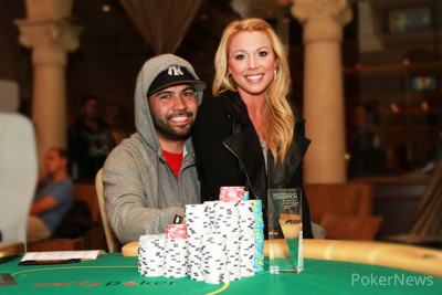 Carlos Alvarado - Winner of Event 1 at the Borgata Spring Poker Open, celebrating with his girlfriend Mary