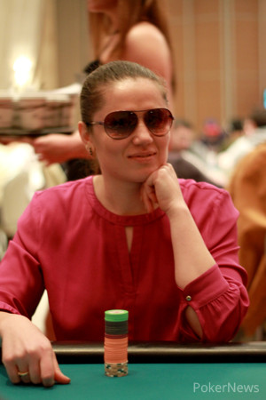 Olga Petrovskaya has built one of the biggest stacks in the room with just 38 players remaining