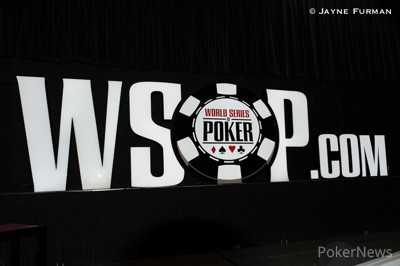 WSOP.com sign lights up the Pavilion Room stage