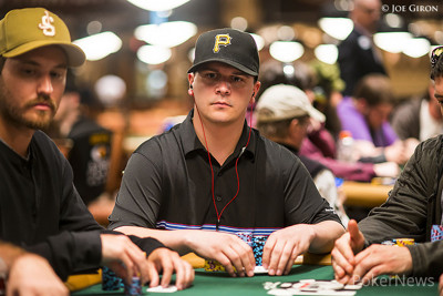 Steve Billirakis is among the leaders after dragging a large pot with a pair of eights.