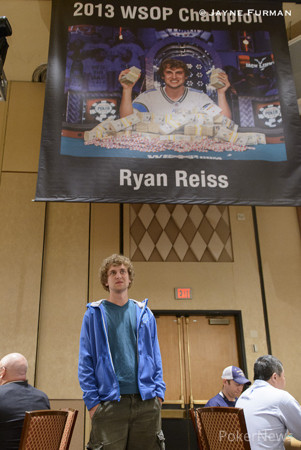 Ryan Riess at his banner unveiling