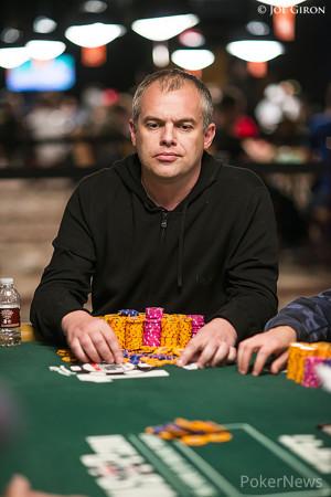 Aleksandr Denisov has almost half of the chips six-handed.