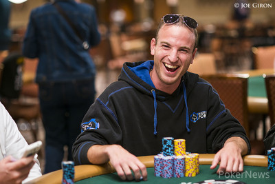 Day 1 Chip Leader Brandon Paster is all smiles
