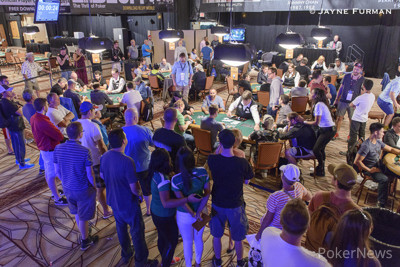 Fans line the rail to catch a glimpse of their favorite poker players in Event #46: $50,000 Poker Players' Championship