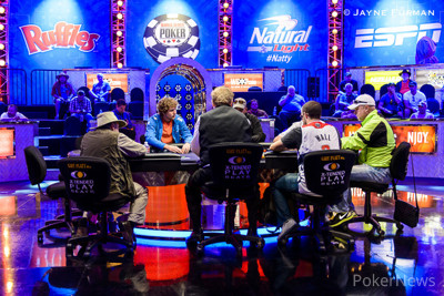 Greg Merson, Ryan Riess, and Bill Perkins highlighted the feature table on Day 1a of the Main Event