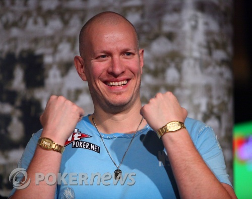 Greg Mueller and his two WSOP bracelets of 2009