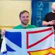 Mike Watson displays the Newfoundland flag