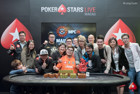 MPC26 Red Dragon Main Event Champion Alan Lau (centre) with Sparrow Cheung (1st right) and the HKPPA. Image courtesy of Kenneth Lim and PokerStars