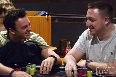 Sam Trickett and Mitchell Johnson share a joke at the #partypokerLIVE High Roller table