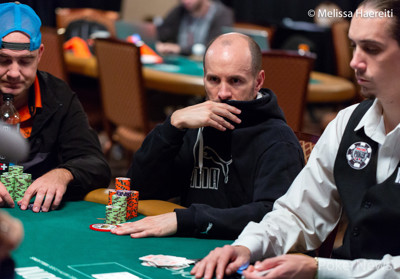 Mike Leah in the $10,000 Pot-Limit Omaha