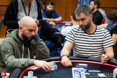 Dimitrios Michailidis (L) and Andriy Mertengren